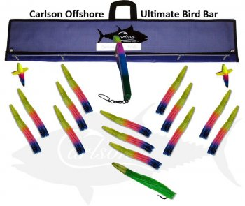 "Carlson Ultimate Bird Bar 36"" with 14 9"" Machine Lures and 12"" Machine Stinger"