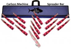 "Carlson Machine Spreader Bar 36"" with 14 9"" Machine Lures and 12"" Machine Stinger"
