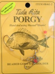 Tide R461-2 - Size 2 Rite Porgy Beaded Gold Baitholder Rigs