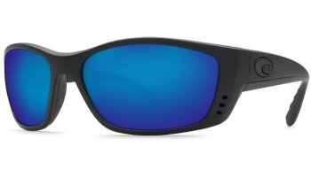 Costa Del Mar Fisch 580G Polarized Sunglasses Blackout Frame and Blue Mirror Lens