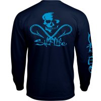 Salt Life SLM10116-NAVY Neon Skull and Hooks Long Sleeve Tee