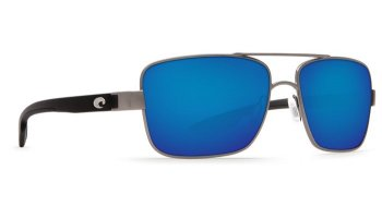 Costa Del Mar North Turn 580P Polarized Sunglasses Gunmetal W/ Matte Black Temples Frame and Blue Mirror Lens