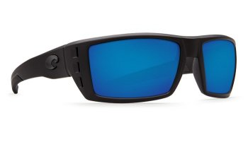 Costa Del Mar Rafael 580P Polarized Sunglasses Blackout Frame and Blue Mirror Lens