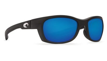 Costa Del Mar Trevally 580P Polarized Sunglasses Matte Black Frame and Blue Mirror Lens