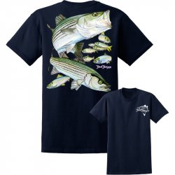 David Dunleavy Striped Bass Short Sleeve T-Shirt DDM8023 Navy