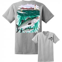 David Dunleavy Striper Lighthouse Short Sleeve T-Shirt DDM8017 Athletic Heather