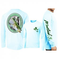 David Dunleavy Montauk Striper LS Performance Shirt DMW8034 Arctic Blue