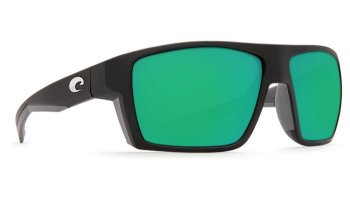 Costa Del Mar Bloke 580G Polarized Sunglasses Matte Black + Matte Gray Frame and Green Mirror Lens