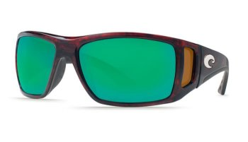 Costa Del Mar Bomba 580G Polarized Sunglasses Tortoise Frame and Green Mirror Lens Angle