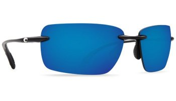 Costa Del Mar Gulf Shore 580P Polarized Sunglasses Shiny Black Frame and Blue Mirror Lens