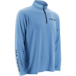 Huk Carolina Blue Icon 1:4 Zip Performance Long Sleeve Shirt H1200065-CBL