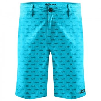 Pelagic Deep Sea Hybrid Boardshorts Front Fish Aqua
