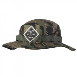 Salty Crew Tippet Patched Bucket Hat Tiger Camo