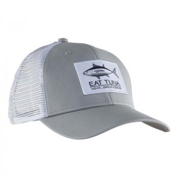 Grundens Eat Tuna Trucker Hat Glacier Grey