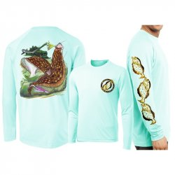 David Dunleavy Flounder Reef Long Sleeve Performance T-Shirt Seagrass
