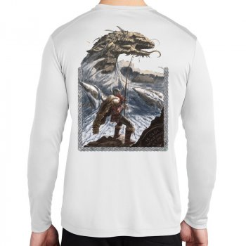 J&H Tackle Leviathan Long Sleeve Performance Shirt Back White