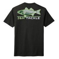 J&H Tackle Neon Striped Bass Tee Back Black