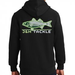 J&H Tackle Neon Striped Bass Hoodie Rear