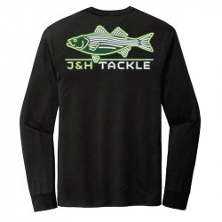 J&H Tackle Neon Striped Bass Long Sleeve Tee Back Black