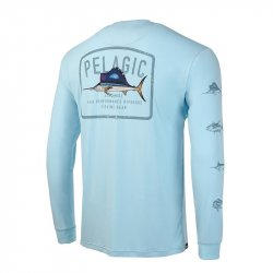 Pelagic Aquatek Game Fish Performance Shirt Light Blue Rear