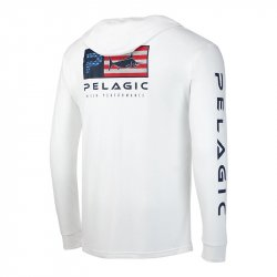 Pelagic Aquatek Icon Long Sleeve Performance Hoody White Rear