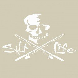 Salt Life SAD934 WHITE MED Skull and Poles Decal