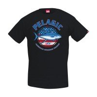 Pelagic Red White & Tuna Tee Black Front