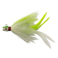 S&S John Skinner Striped Bass Bucktail Daytime White Chart Flare BTY