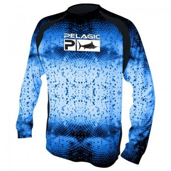 Pelagic VaporTek Long Sleeve Performance Shirt Psycho Dorado Blue